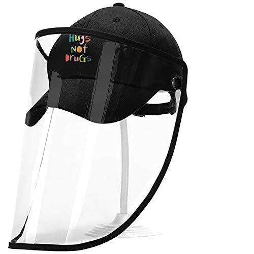 Protective Face Shield Baseball Cap Hugs Not Drugs Hat Visor PVC Clear...