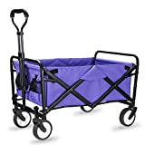 WHITSUNDAY Collapsible Folding Garden Outdoor Park Utility Wagon Picnic Camping Cart with Replaceable Cover (Compact Size 5' Wheels, Purple)