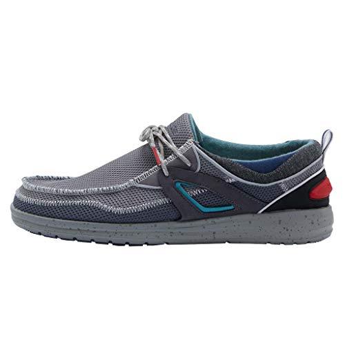 Hey Dude Wally Storm - Mocasines para Hombre - Color Dark Grey - Zapatos para Hombre Ligeros y cómodos - Talla EU 43