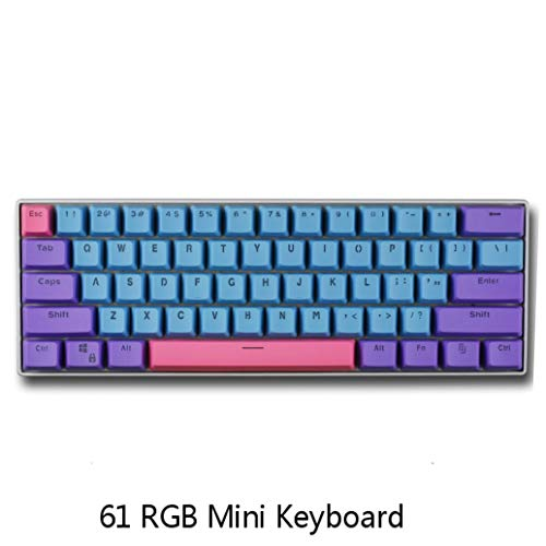 BOYI 60% Mechanical Gaming Keyboard,BOYI 61 Mini RGB Gateron Switch PBT Keycap 60% RGB Mechanical Gaming Keyboard (Joker Color, Gateron Blue Switch)