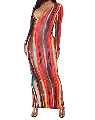 Material: breathable, stretchy and soft, comfortable to wear Feature: long sleeve, deep v neck, tie dye print, striped, slim fit, casual style long dress Occasion: daily casual wear, street, travelling, holiday, clubwear, night out, workwear, office ...