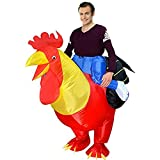 BlueSpace Inflatable Costumes Hallowenn Cosplay Costumes Gaint Rooster Suit for Audlts and Kids,Red,Large