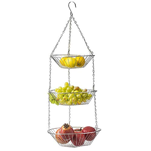 CHRONSTYLE Hängekorb 3 Etagen, hängende Obstkörbe, 3er Etagere für die Decke, Obst, platzsparend in Küche, Stahl, Silber