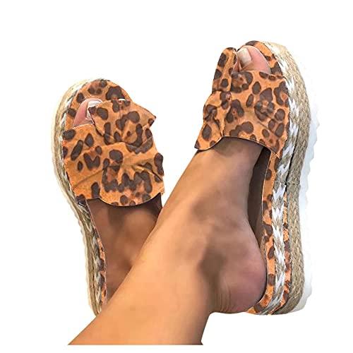 Zapatillas Casuale con Cuña Chanclas Mujer Verano playa Casual moda Pantuflas Mujer Estampado de leopardo con Arcos,Sandalias Mujer de casa de Cómodo Casual,Chanclas Mujer Verano Cuña