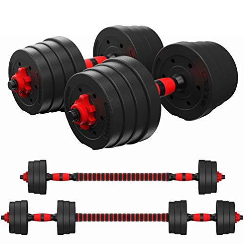 CLISPEED Adjustable Dumbbells Set Workout Anti-Slip Barbell Fitness Dumbbell Weights with Connecting Rod (Total 30KG)