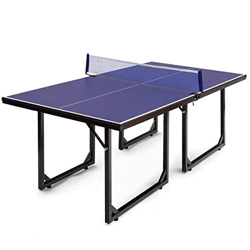 Goplus Foldable Ping Pong Table, 99% Preassembled Multi-Use Midsize Compact Table Tennis with Net, Indoor/Outdoor...