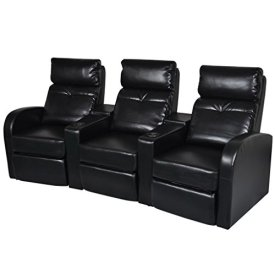 vidaXL Black Artificial Leather 3-Seat Home Theater Recliner Sofa Lounge w/Cup Holder