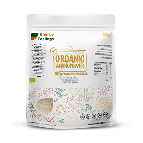 Energy Feelings Proteina Vegana Ecológica   80% Proteína   Proteína Sabor Neutro - Sin Sabor   con Proteína de Arroz, Cáñamo y Guisante   Rica en BCAA   100% ecológica   Sin Gluten   500g