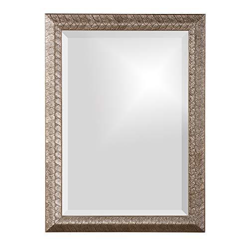 Howard Elliott Malia Hanging Rectangular Wall Mirror, Etched Wood Frame, Silver Leaf, Vanity, 20 x 28 Inch