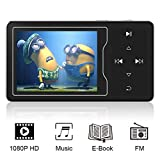 RUIZU D08 MP3/MP4 Video Player, High Resolution Screen, 1080p Full HD Video, FM Radio, Built-in Speaker, Touch Button, Up to 128GB Expandable, Black