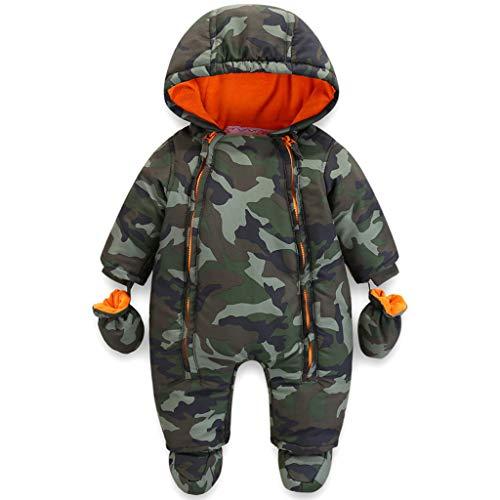 Bebé Mameluco con Capucha Invierno Conjunto de Ropa Traje de Nieve con Guantes y Botines Trajes de Algodón 12-18 Meses