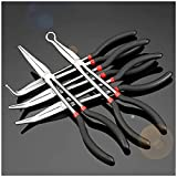 Mostbest 5 Piece Long Reach Pliers Set - Long Needle Nose Pliers Sets - Straight, 25, 45, 90-Degree Angle, Long Reach Circle Pliers