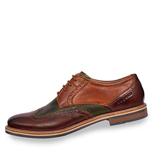 bugatti 312854024141, Zapatos de Cordones Derby para Hombre, Marrón (Brown/Dark Green 6071), 40 EU