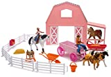 New-Ray Valley Ranch Pink Barn Horse Set