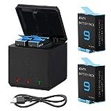 AFAITH 2 PCS Batteries + Boîtier de Chargeur de Batterie 3 Canaux pour GoPro...