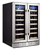 Kalamera Wine Cooler - Fit Perfectly into 24 inch Space Under Counter or Freestanding - Dual Zone -...