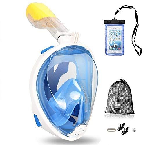 Churidy Vollmaske Schnorchelmaske Tauchmaske Vollgesichtsmaske mit 180° Sichtfeld, Dichtung aus Silikon Anti-Beschlag Wasserdicht Anti-Leck Technologie für Erwachsene und Kinder