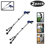 [New Version]2 Pack Foldable Reacher Grabber Tool, Long 32' Foldable Extender Gripper Tool, Suction Cups for Precise Work, Claw Trash Garbage Picker,Garden Nabber, Mobility Aid Pick Up Tool