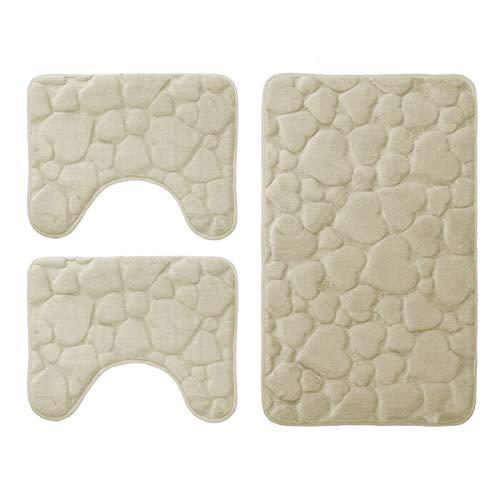 DEMONA Set 3 Pezzi Completo TAPPETI Bagno Sassi Memory Foam Antiscivolo Morbidi 3D Vari Colori...
