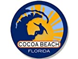 JR Studio 4x4 inch Round Surfer On Wave Cocoa Beach Florida Sticker (Surfing surf Beach) Vinyl Decal Sticker Car Waterproof Car Decal Bumper Sticker