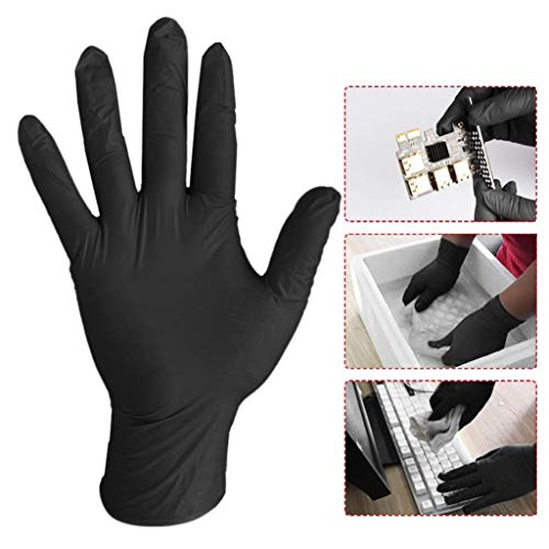 Black Nitrile Gloves,Disposable Latex-Free Gloves for Medical,Tattoo,Care,Industrial (20)