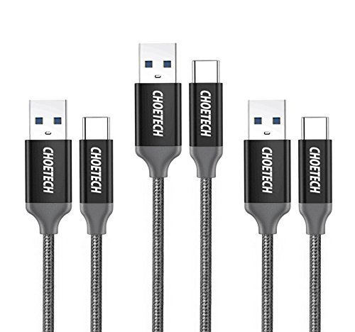 USB Type C Cable, CHOETECH USB C to USB 3.0 (3-Pack 6.6ft x 2, 3.3ft x 1) Charging Cable Nylon Braided for Samsung Galaxy Note 8, Galaxy S8 S8 Plus, Nintendo Switch, Nokia 8, LG G5 G6 V20, HTC 10 and More
