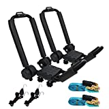 Premium Folding Kayak Rack J-Bar Car Roof Rack for Canoe Carrier SUP Paddle Surfboard Mount on Car SUV and Truck Crossbar, Includes 2 pcs 10Ft S-Hook Rated Ratchet Pulleys Straps Ratchet Strap(1 Pair