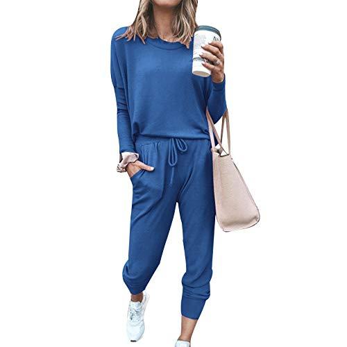 I3CKIZCE Tuta da Donna T-shirt Manica Lunga Completa e Pantaloni Lunghi con Coulisse Set Sportivo 2 Pezzi Tinta Unita per Donna Tuta Casual per Sport da Casa Yoga Fitness (Blu, L)