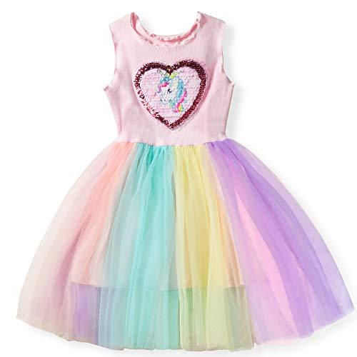 Las niñas del Unicornio del Vestido Ocasional del Verano Impreso Top de la Camiseta + Falda del Arco Iris Talla 3-4 años Rosa