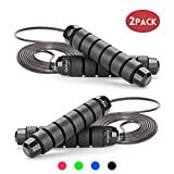 GoxRunx Jump Rope Tangle-Free with Ball Bearing Rapid Speed Jump Ropes Cable, Skipping Rope Jumping Rope with Memory Foam Handles for Workout Exercise Fitness for Women Men Kids-2 Pack (Black)