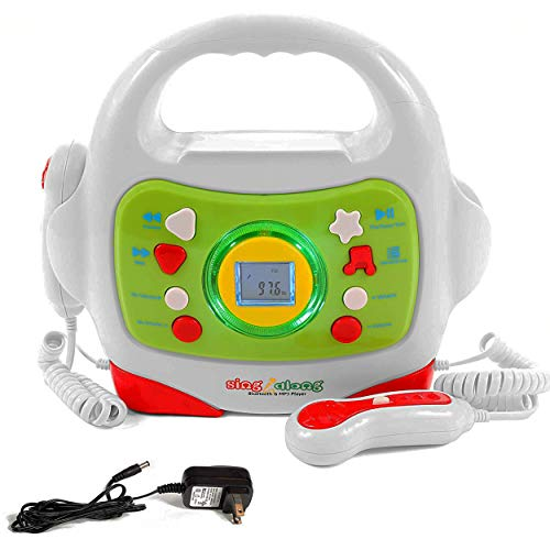 IQ Toys MP3 Music Player, with 2 Sing Along Karaoke Microphones and Adapter, Stream Music by Bluetooth, MP3 or Micro SD