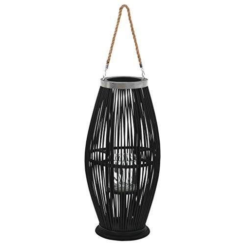Festnight Hängender Kerzenständer Laterne | Kerzenlaterne | Bambus Windlicht Gartendeko | Bambus-Laterne | Laternenkorb | Schwarz Bambuslaterne und Kerzenglas 29 x 60 cm
