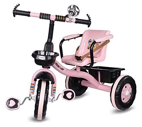 Amardeep Baby Tricycle Brendon 2-5 Years Pink with Large Basket , Arm Rest and Safety Belt