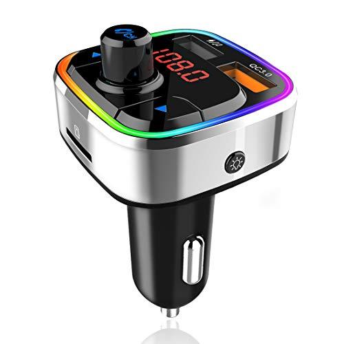 Transmetteur FM Bluetooth, Adaptateur Audio Sans Fil pour Autoradio Kit Voiture Mains Libres Avec Chargeur de Voiture QC3.0 & 5V/2.4A, Rétro-éclairage Coloré,Lecteur de Musique MP3 Support TF Card/USB