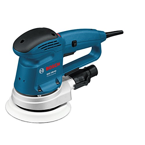 Bosch Professional Exzenterschleifer GEX 150 AC (150 mm Schleifteller, 340 Watt, inkl. Adapter, Absaugadapter, Schleifpapier K80)