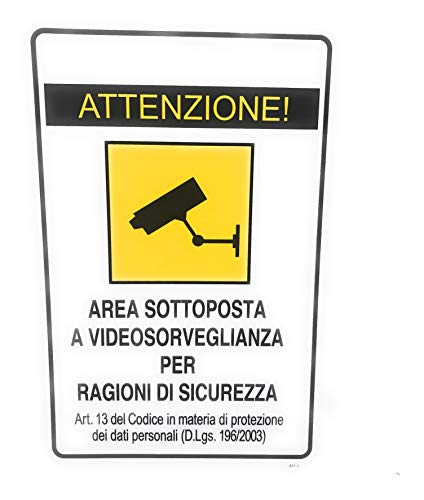 TEMPO DI SALDI Cartello Adesivo Attenzione Area Sottoposta A Videosorveglianza X Esterno 30x20