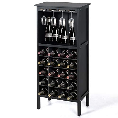 Giantex - Portabottiglie Cantinetta per Vino in Legno per 20 Bottiglie, Scaffale per Bottiglie di Vino con 4 Porta Calici, Vintage, per Cucina, Bar, 42 x 24,5 x 96 cm (Nero)