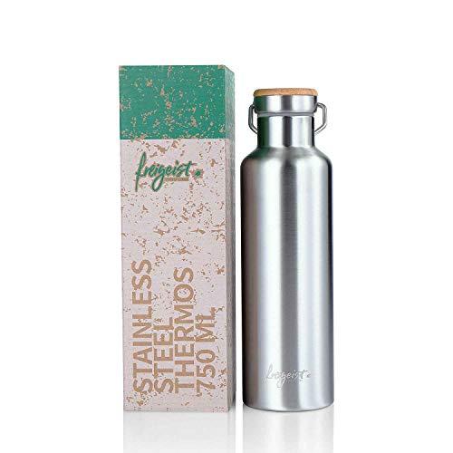 Edelstahl Trinkflasche 750-ml | Thermosflasche doppelwandig, Isolier-Flasche BPA frei, Auslaufsicher & Kohlensäure geeignet | Wasserflasche Spülmaschinenfest - Für Outdoor, Wandern, Sport
