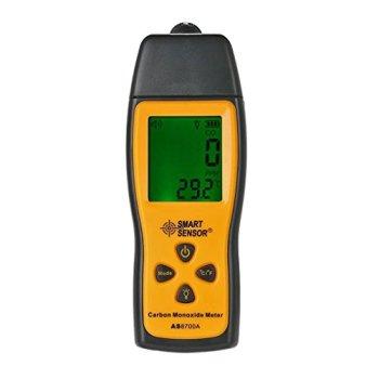 AS8700A Compteur de monoxyde de carbone avec capteur intelligent, analyseur de CO 1000 ppm, détecteur de fuite de CO numérique, détecteur de monoxyde de carbone portable