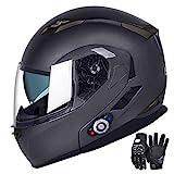 Motorcycle Bluetooth Helmets, FreedConn Flip up Dual Visors Full Face Helmet,Built-in Integrated Intercom Communication System(Range 500M,2-3Riders Pairing,FM radio,Waterproof,XL,Gray)