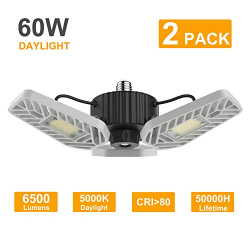 LZHOME 2-Pack LED Garage Lights, 6500Lumens E26/E27 Adjustable Trilights Garage Ceiling Light,60W...