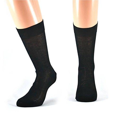 Fontana Calze, 6 paia di calze UOMO corte in 100% Cotone Filo di Scozia. NERO TG 42/44,5
