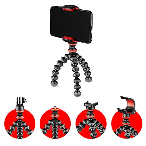 JOBY GorillaPod Starter Kit, Mini Treppiede Flessibile con Clamp Universale Smartphone, Attacco GoPro e Torcia, Portata Max 325 g, JB01571-BWW