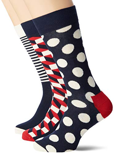 Happy Socks Stripe Gift Box Calze, Blu (Navy 6000), Unica (Taglia Produttore: 41-46) (Pacco da 4)...