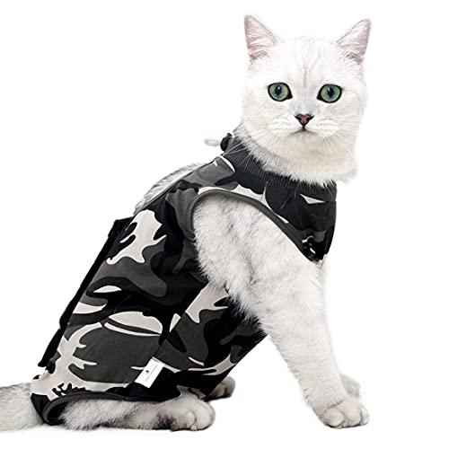 VIZAUZIE Mascotas Trajes de recuperación quirúrgica Ropa Chaleco de recuperación pequeños Gatos y Perros Camuflaje S