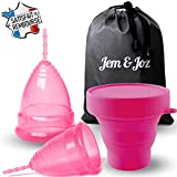Jem&Joz - 2 Cups Menstruelles, 1 Grande + 1 Petite, En Silicone Médical Hypoallergénique Sans BPA,...
