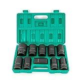Juego de llaves de impacto de 10 piezas, 24 – 46 mm, 1 pulgada, para eje de accionamiento + maletín