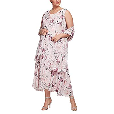 Tea length printed chiffon burnout dress with cowl neck Cowl neck, high/low skirt, and shawl