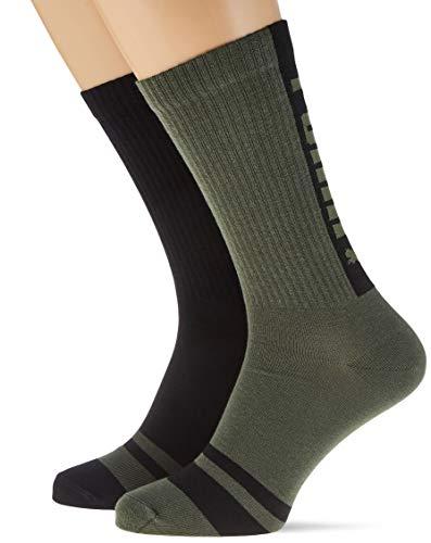 PUMA Seasonal Logo Crew Socks (2 Pack) Calzino casual, verde militare, 43/46 (Pacco da 2) Uomo