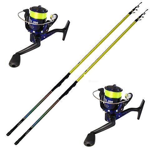 globe fishing Bolognese Metri 4 Canna con Mulinello Pesca Galleggiante Fondo Mare Lago Kit 2 Pezzi